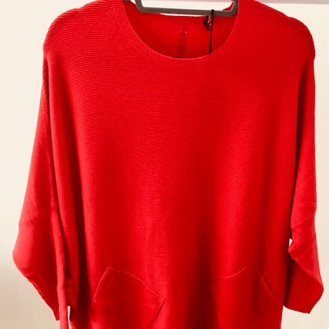 Pillar Box Red Plait Back Jumper