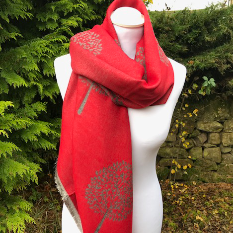 Tree of Life Scarf Red/Grey