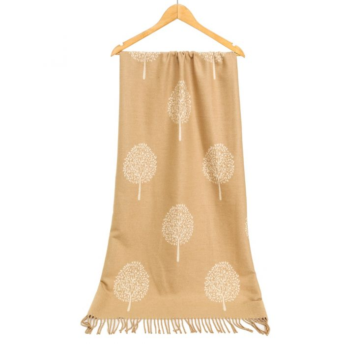 Tree of Life Scarf in Camel and Cream