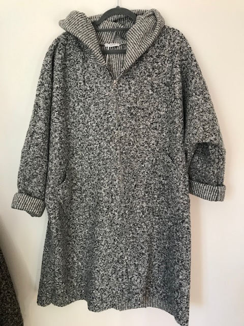 Boucle Grey Mix Hooded Coat