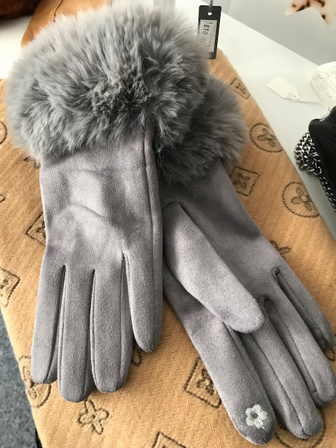Silver Grey  Faux Fur Trimmed Gloves
