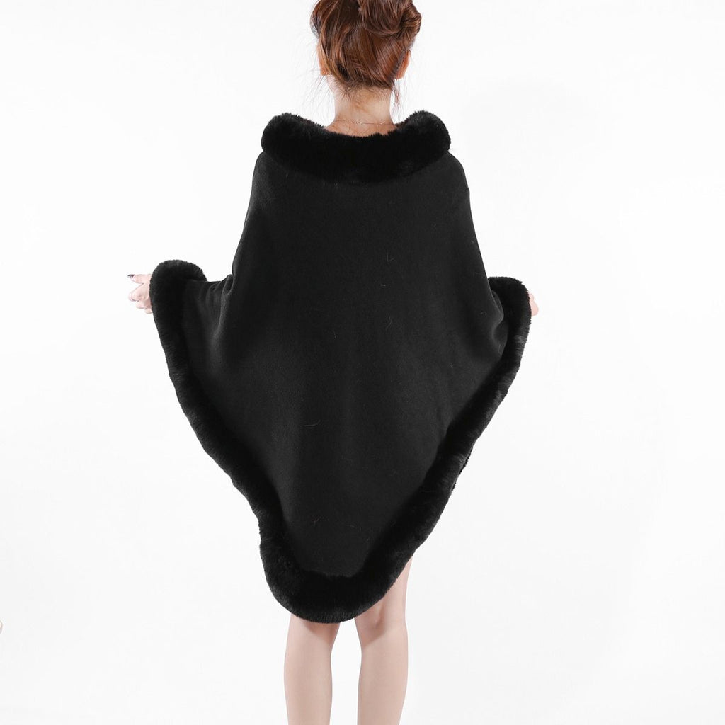 Black faux fur Trimmed Poncho