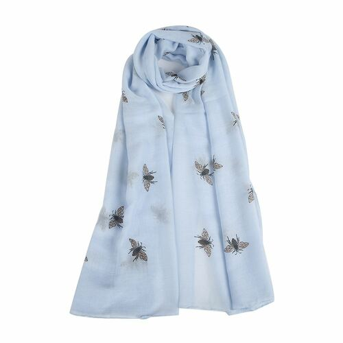 Pale Blue Little Bee Scarf