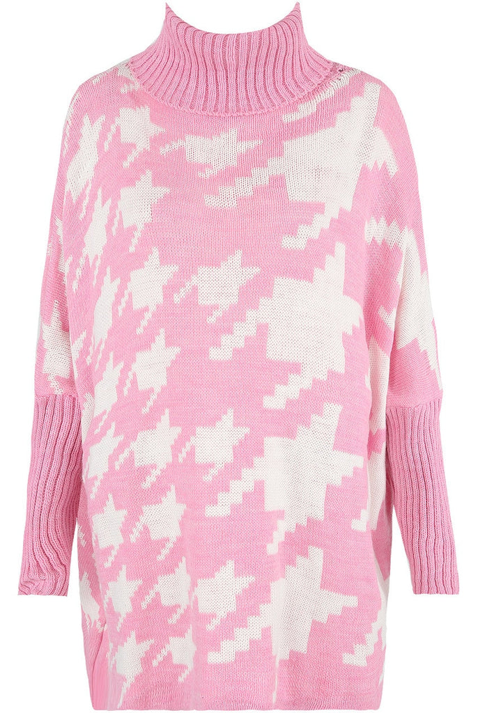 Pink Dog Tooth Roll Neck Tunic  Dress