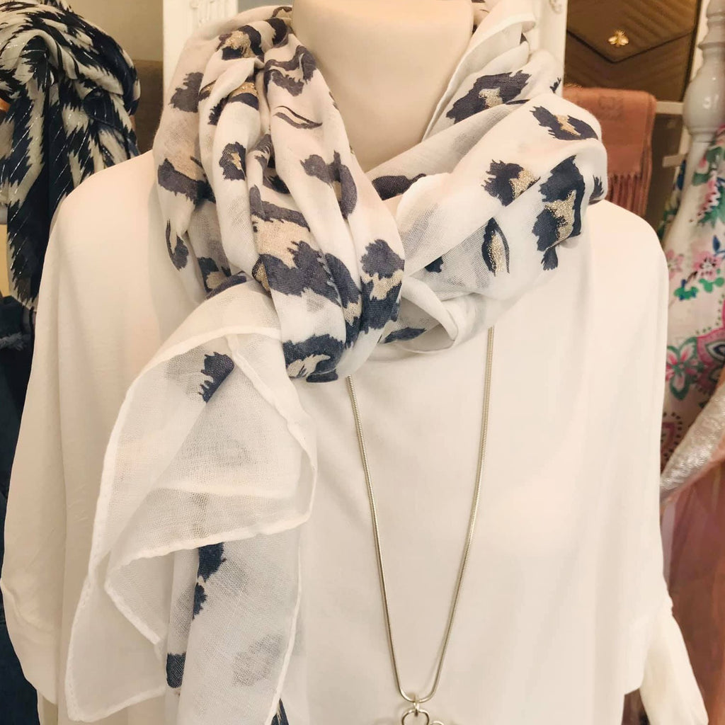 White and Navy Leo Scarf
