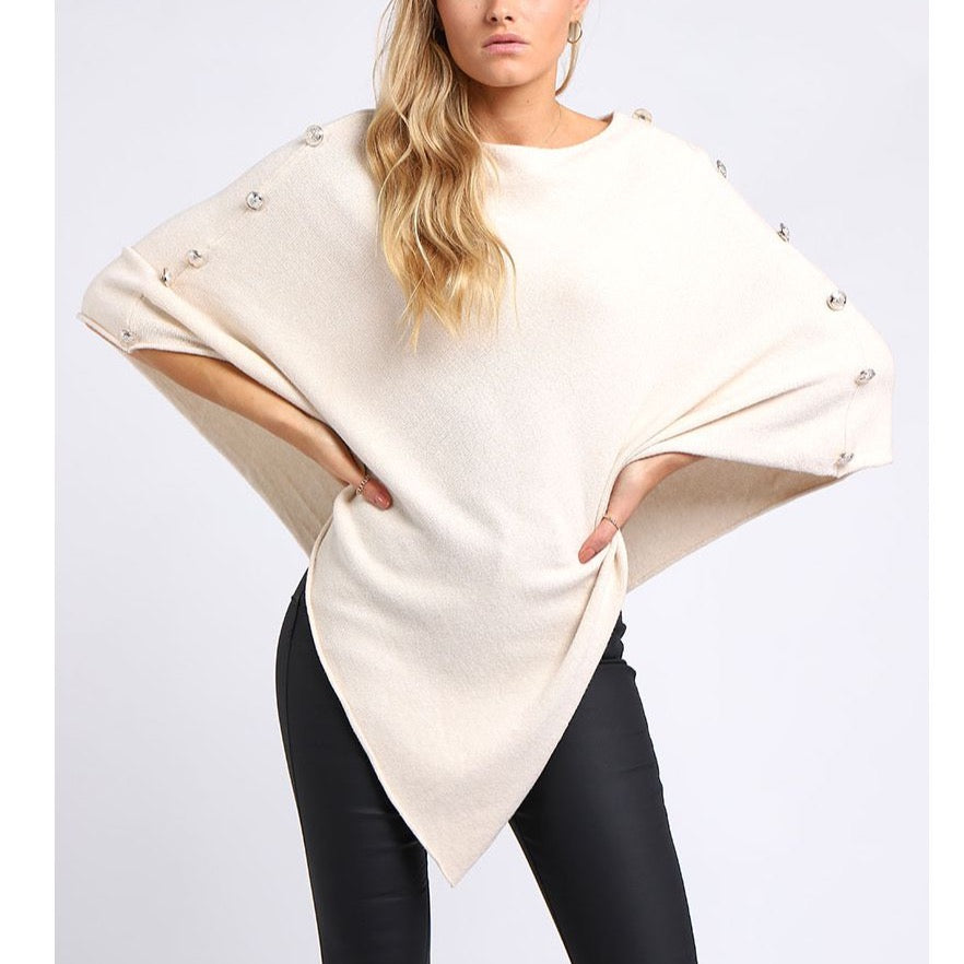 Side Button Poncho Stone