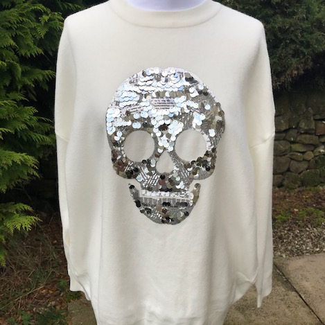 Sequin Skull Jumper Winter White