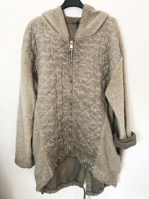 Twinkly Quilted Hooded Jacket Taupe