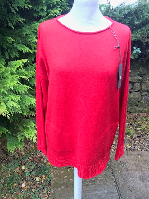 Red Ribbed Hem Jumper