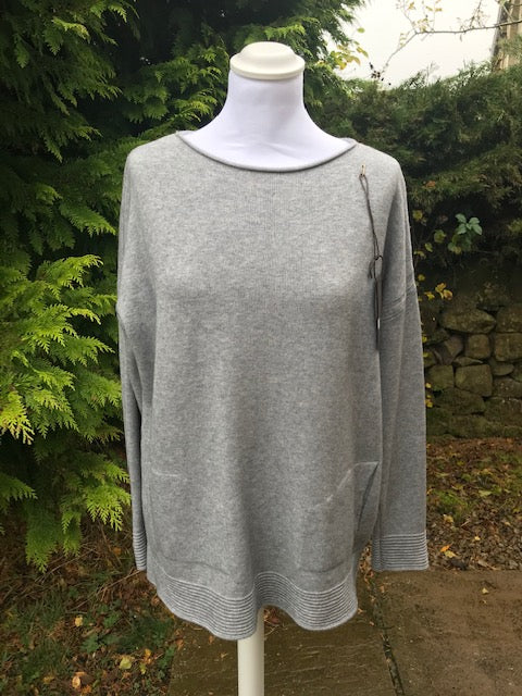 Grey Ribbed Hem Jumper
