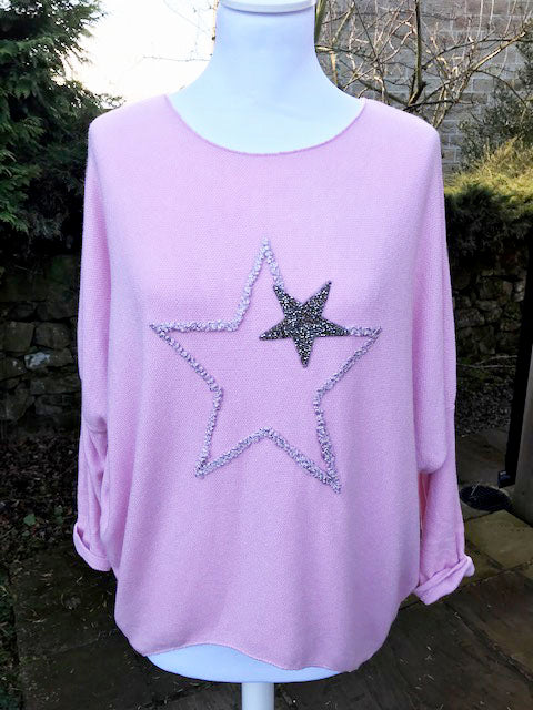 Double Star Jumper Pink