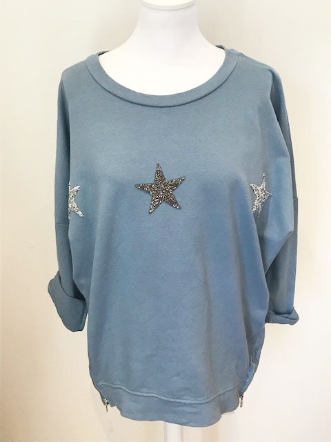 Wish Upon a Star Top Denim Blue