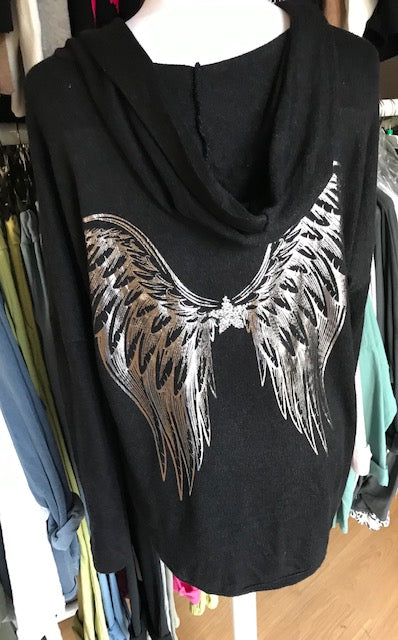 Black Silver Angel Wing Hoody