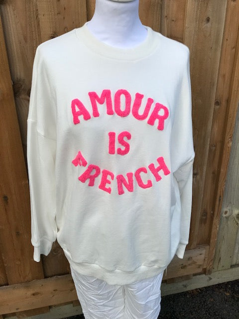 AMOUR IS FRENCH - PINK Wording