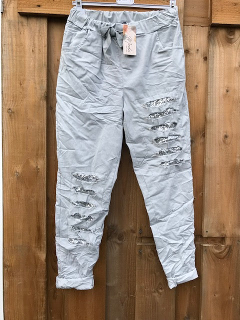 Sequin Ladder Magic Pants Silver