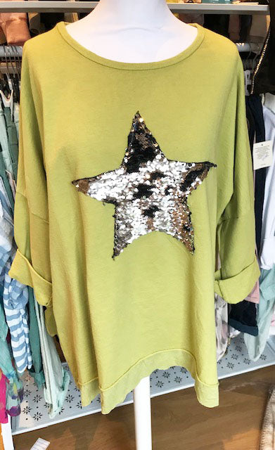 Sequin Star Top Lime