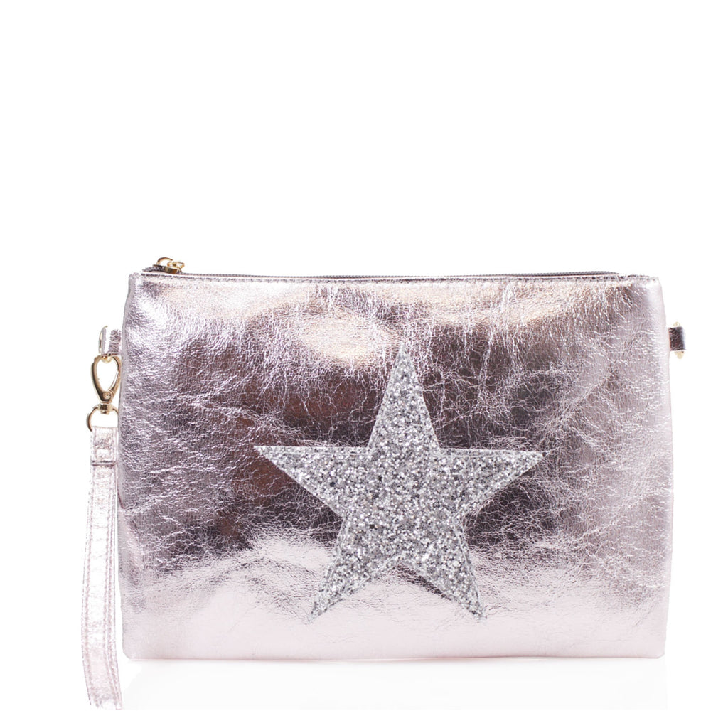 Crystal Star Clutch Rose Gold
