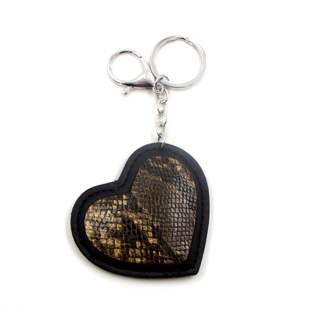 Snake Print  Heart Tan and Black Key Ring