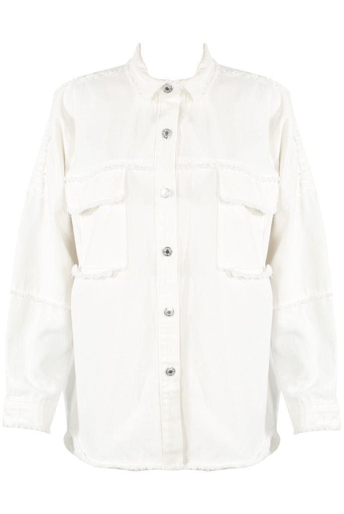 White Denim Shacket