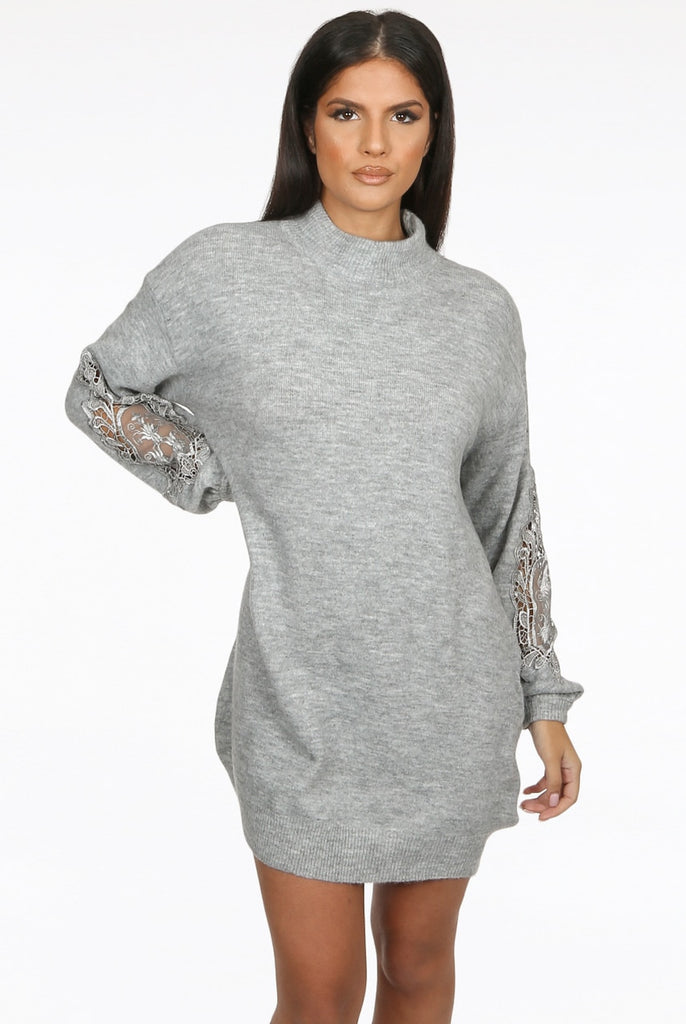 Lace Detail Sleeve Jumper Dress