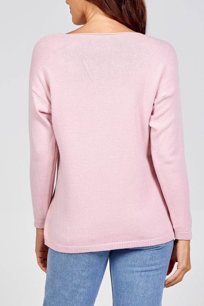 Star Embossed 3D Jumper pink