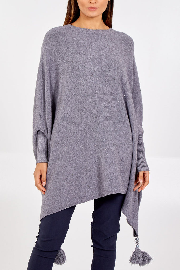 Grey Poncho Jumper with Silver Stones