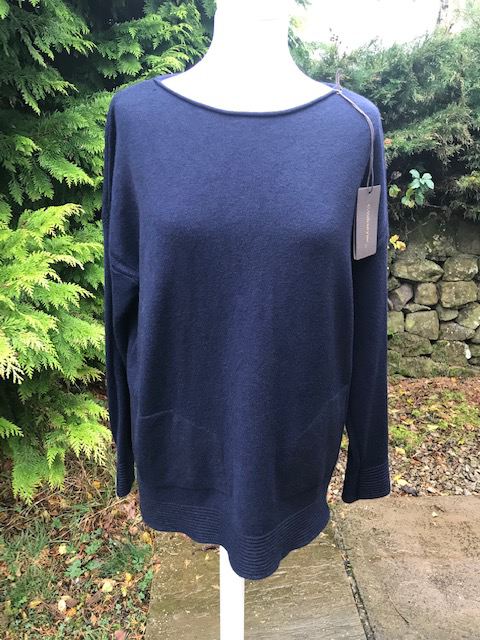 Navy Ribbed Hem Jumper
