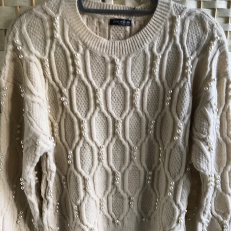 Cable Knit Jumper With Pearls Buttermilk