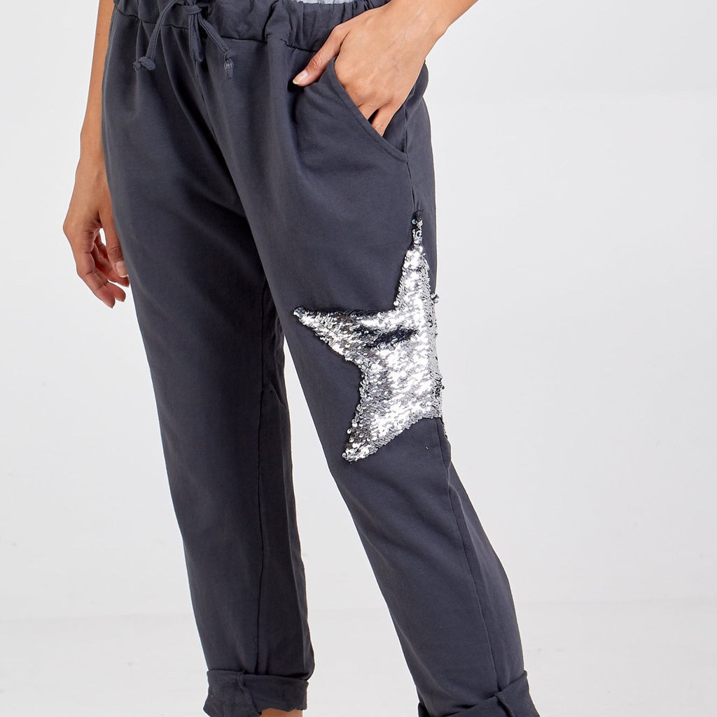 Sequin Star Joggers Charcoal