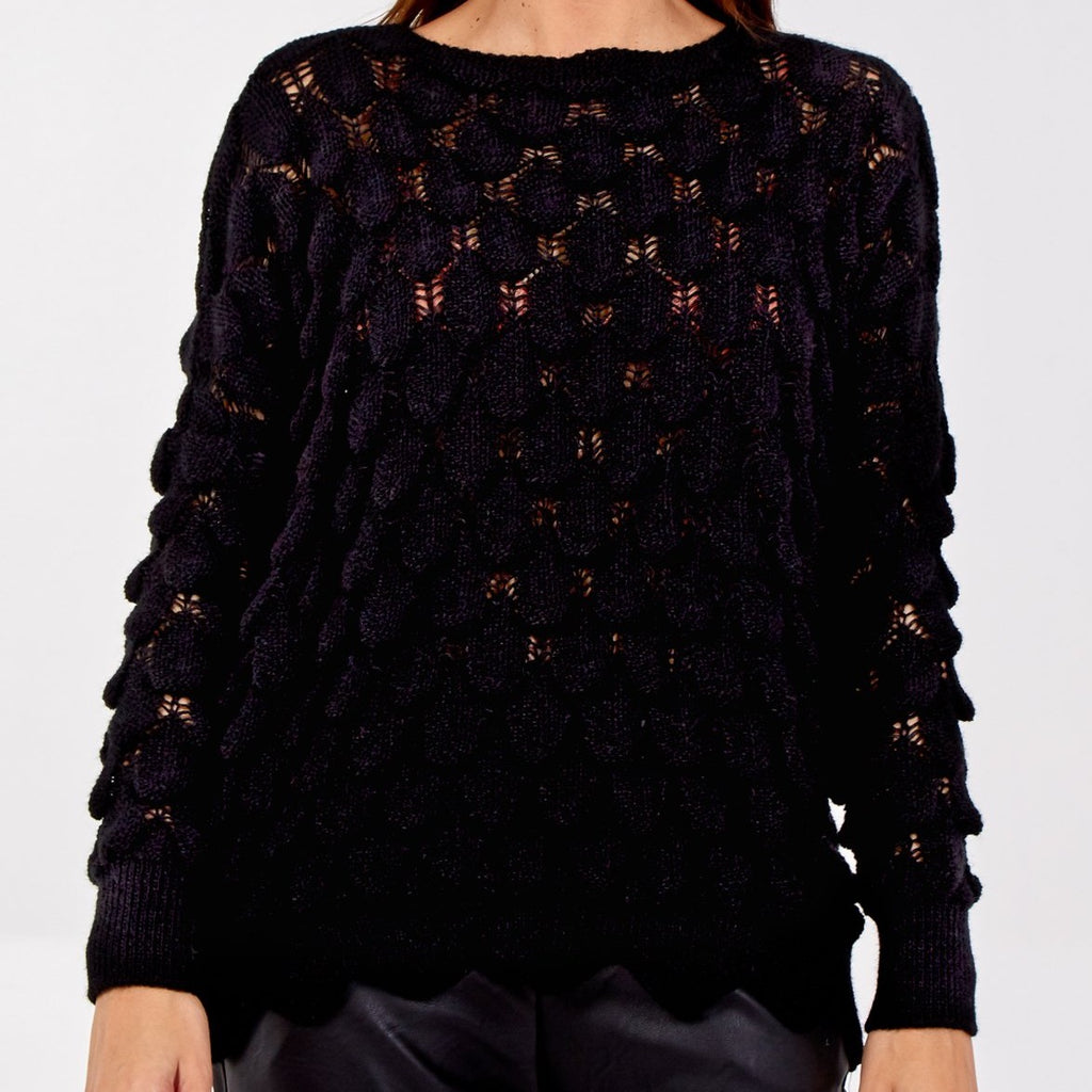 Scalloped Edge Jumper Black
