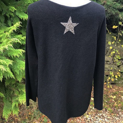 Star Back Jumper Black