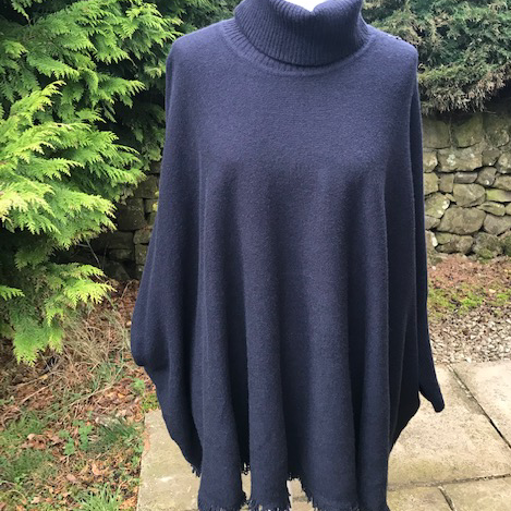 Oversize Fringed Jumper Navy