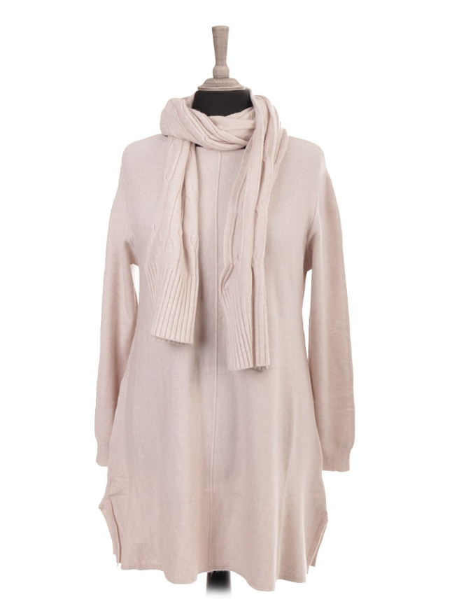 A line Knitted Scarf Tunic in Winter White
