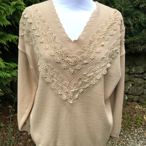 Light Camel Lace Embellished Jumper