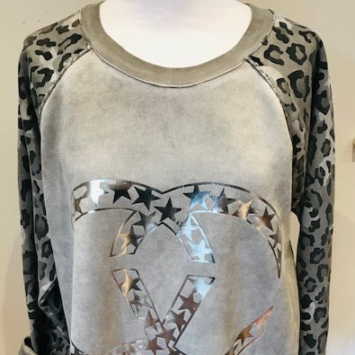 Leopard Sleeve Top Grey