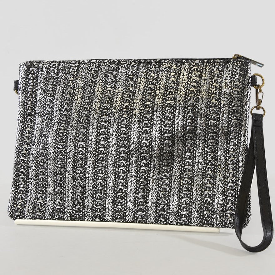 Black and Silver Woven Clutch bag