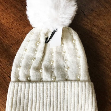 Pearl Trim Hat Cream