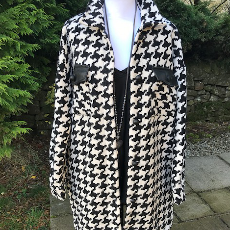 Dog Tooth Jacket with PU Trim