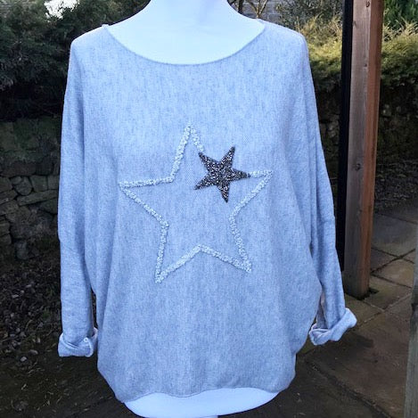 Double Star Jumper Silver