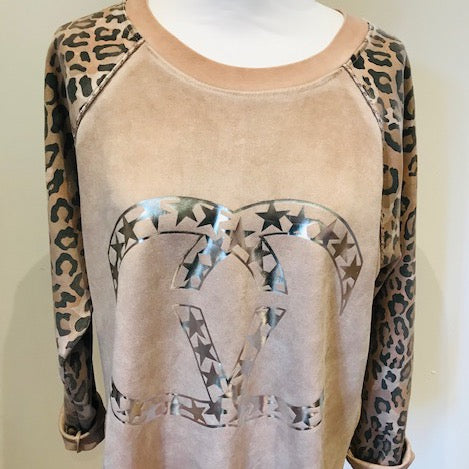 Leopard Sleeve Top Pink