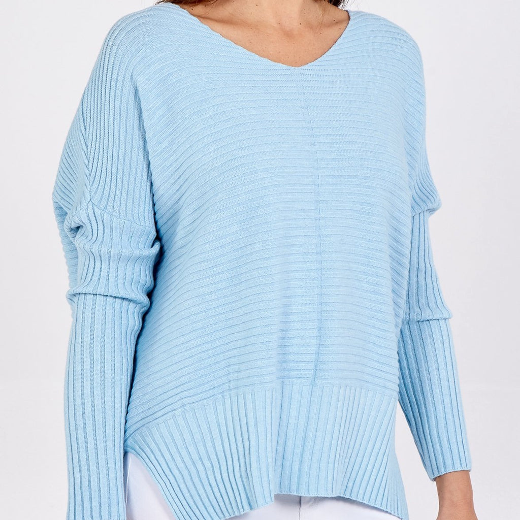 Ribbed V Neck Jumper Baby Blue