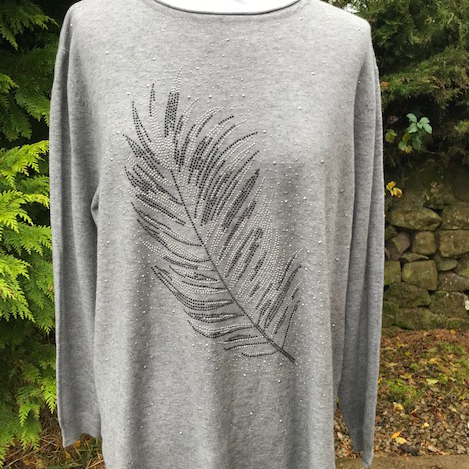 Sparkling Feather Jumper Silver Grey