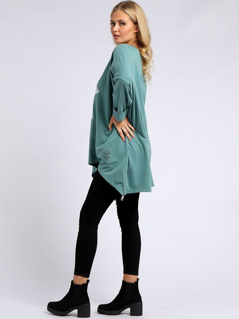 Painted Star Zip Hem Top Ocean