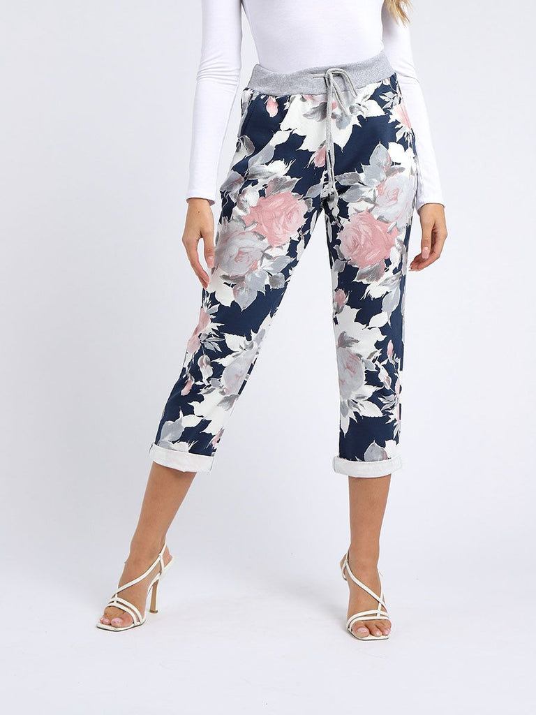 Navy Floral Joggers