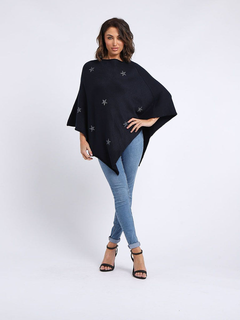 Navy Blue Star Poncho