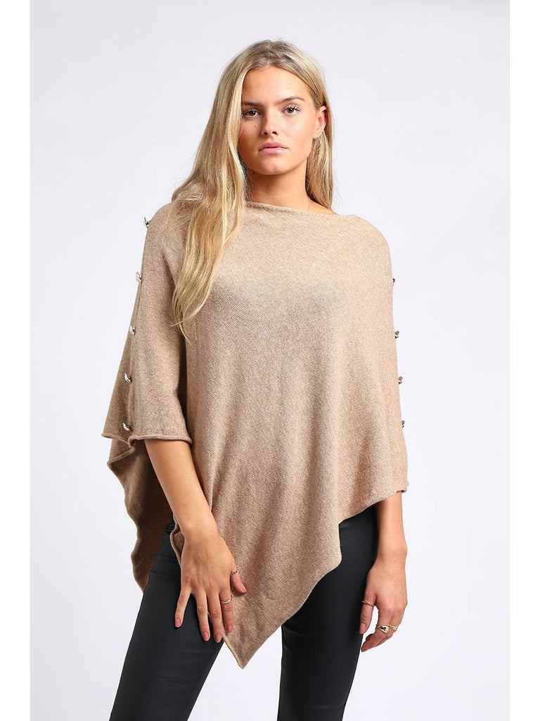 Side Button Poncho Camel