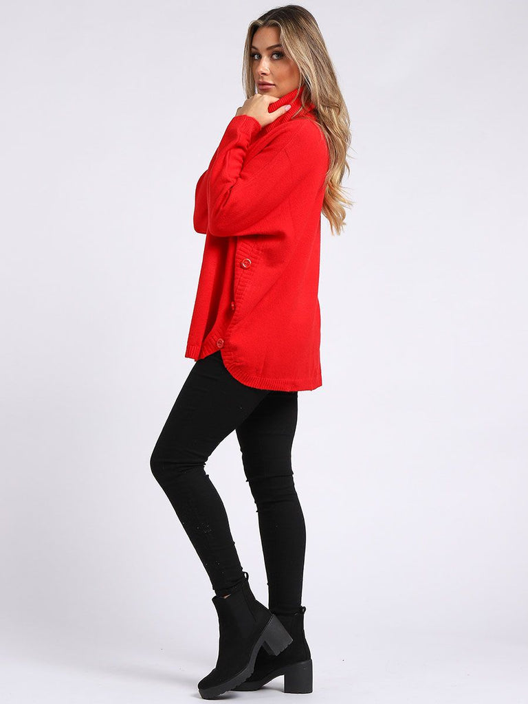 Side Button Jumper Pillar Box Red