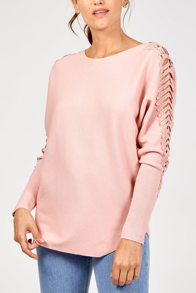 Crochet Arm Detail Jumper Pink S/M