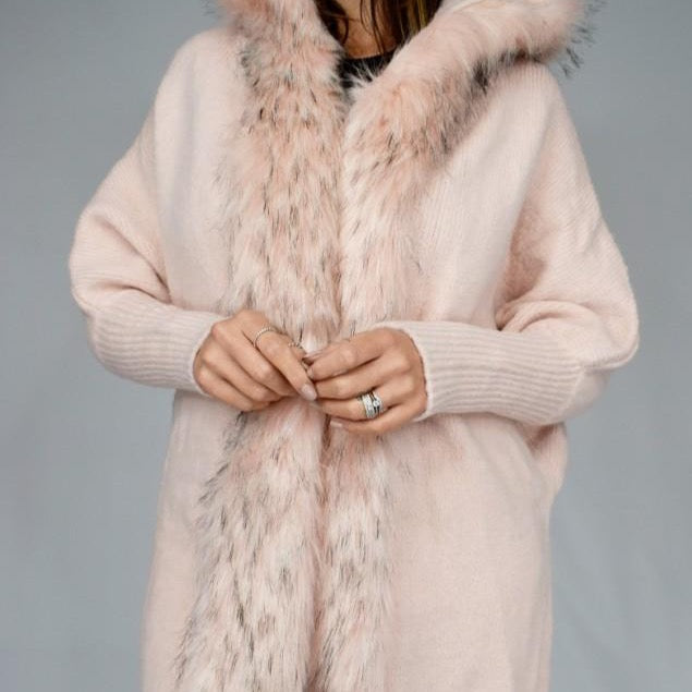 Pink Faux Fur Trimmed Hooded Jacket