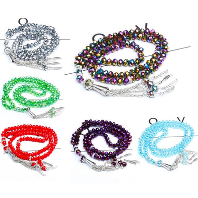 Islamic Muslim Crystal Prayer Beads Beautiful Tasbeeh (32 Designs)
